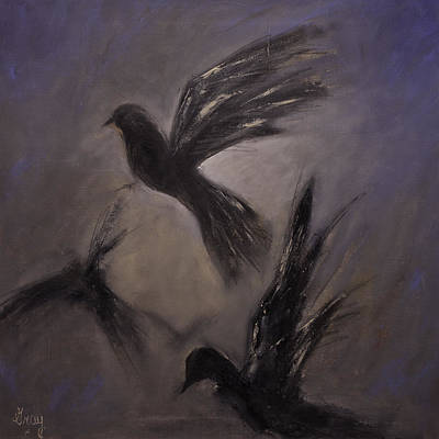 Carolina Duck Painting - 'departure' Birds In Flight Original Bird Painting On Strecthed Canvas by Gray  Artus