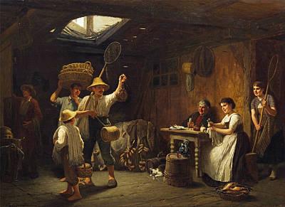 Reinhard Painting - Departure For Fishing by Reinhard Sebastian Zimmermann