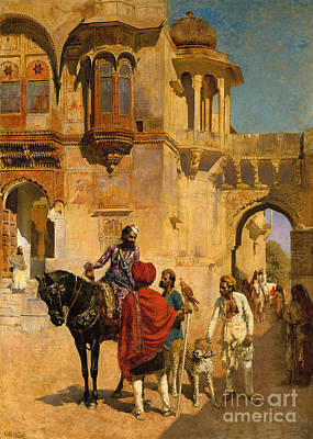 Falconry Painting - Departure For The Hunt In The Forecourt Of A Palace Of Jodhpore by Edwin Lord Weeks