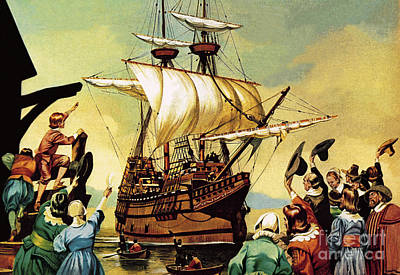 Painting - Departure Of The Pilgrim Fathers For America  by Ron Embleton
