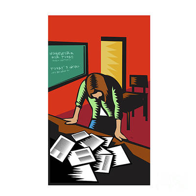 Depressed Female School Teacher Classroom Woodcut Art Print