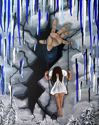 Art Print featuring the painting Depression by Teresa Wing