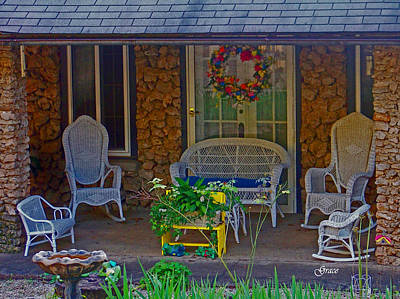 Porch Mixed Media - Der Vaters Edge House by Julie Grace