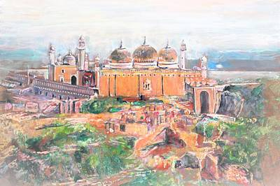 Painting - Derawar Fort Mosque by Khalid Saeed