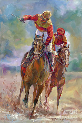 Sport Oil Painting - Derby Winner by Laurie Hein