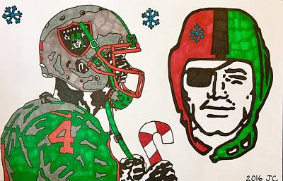 Drawing - Derek Carr Christmas 2 2016 by Jeremiah Colley