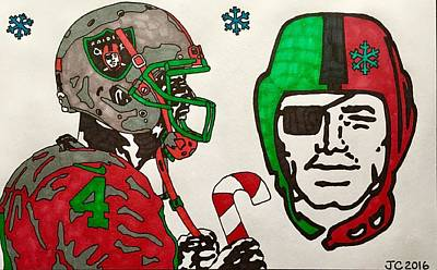 Drawing - Derek Carr Christmas 2016 by Jeremiah Colley