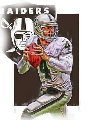 Team Mixed Media - Derek Carr Oakland Raiders Oil Art by Joe Hamilton