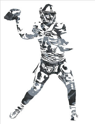 Mixed Media - Derek Carr Oakland Raiders Pixel Art 11 by Joe Hamilton