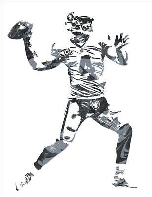 Derek Carr Oakland Raiders Pixel Art 12 Art Print