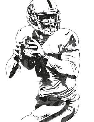 Derek Carr Oakland Raiders Pixel Art Art Print