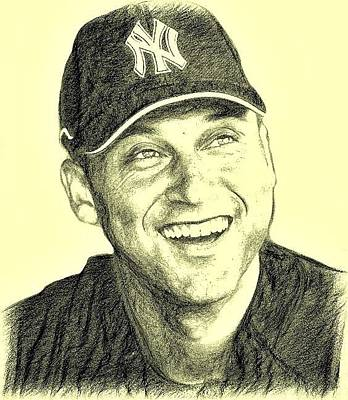 Derek Jeter Drawing - Derek Jeter by Bob Smerecki