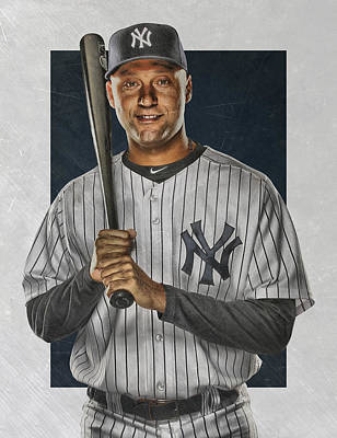 Bat Mixed Media - Derek Jeter New York Yankees Art by Joe Hamilton