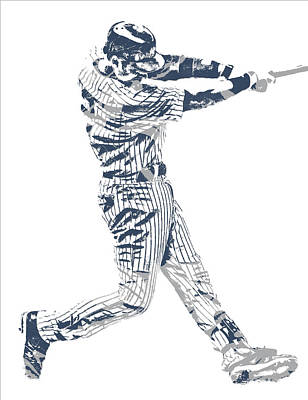 Mixed Media - Derek Jeter New York Yankees Pixel Art 10 by Joe Hamilton