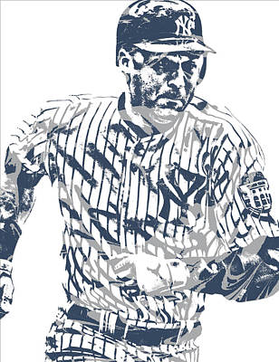 Mixed Media - Derek Jeter New York Yankees Pixel Art 12 by Joe Hamilton