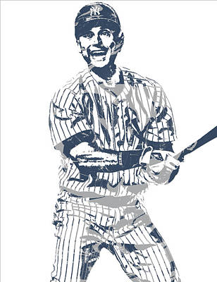 Mixed Media - Derek Jeter New York Yankees Pixel Art 13 by Joe Hamilton