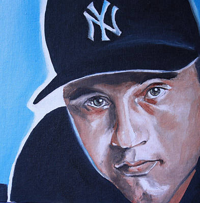 Baseball Art Painting - Derek Jeter Portrait by Mikayla Ziegler