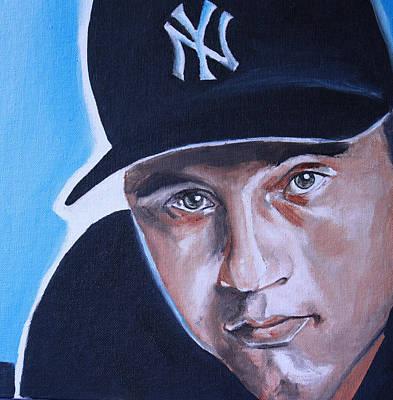 Sports Artist Painting - Derek Jeter Portrait by Mikayla Ziegler