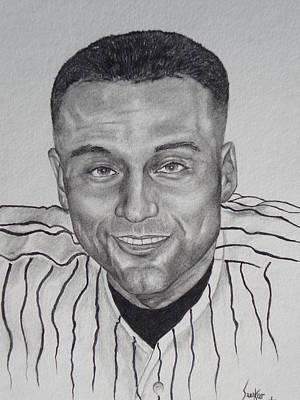 Drawing - Derek Jeter by Stephen Sookoo