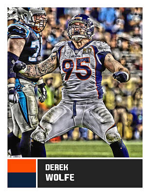 Mixed Media - Derek Wolfe Denver Broncos by Joe Hamilton