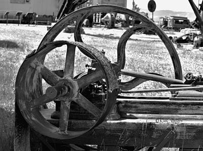 Photograph - Derelict Conveyor Belt And Drive Wheel In Black And White by Kae Cheatham