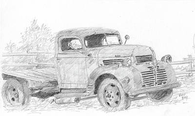 Drawing - Derelict Dodge by David King