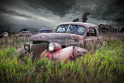 Photograph - Derelict Vintage Auto Abandoned In The Ghost Town By Okaton South Dakota by Randall Nyhof