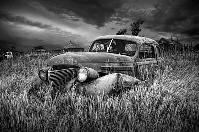 Photograph - Derelict Vintage Auto In Black And White by Randall Nyhof