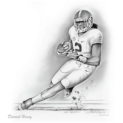 University Of Arizona Drawing - Derrick Henry by Greg Joens