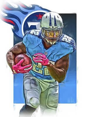Derrick Mixed Media - Derrick Henry Tennessee Titans Jersey Number 22 Oil Art by Joe Hamilton