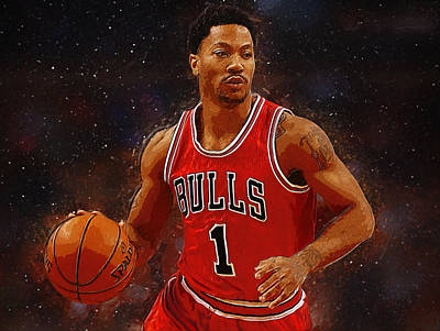 Blake Digital Art - Derrick Rose by Semih Yurdabak
