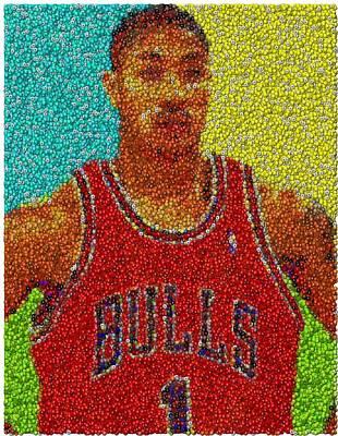 Derrick Rose Skittles Mosaic Print by Paul Van Scott