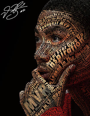 Roses Digital Art Digital Art - Derrick Rose Typeface Portrait by Dominique Capers