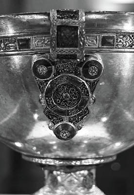 Photograph - Derrynaflan Silver Chalice Macro Irish Artistic Heritage Black And White by Shawn O'Brien