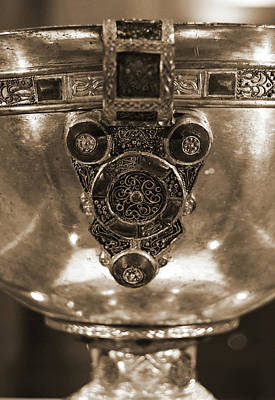 Photograph - Derrynaflan Silver Chalice Macro Irish Artistic Heritage Sepia by Shawn O'Brien