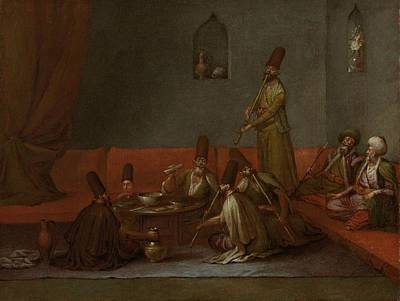 Muslim Painting - Dervishes Sharing A Meal by Jean Baptiste Vanmour
