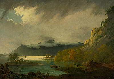 In The Distance Painting - Derwent Water, With Skiddaw In The Distance by Joseph Wright