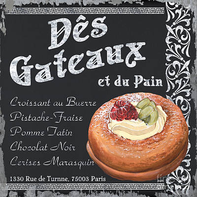 Paris Food Antique Market Painting - Des Gateaux by Debbie DeWitt