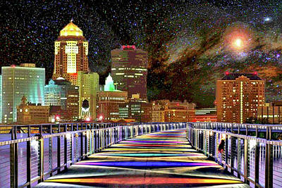 Digital Art - Des Moines Grays Bridge Cityscape by Mary Clanahan