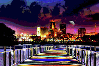 Digital Art - Des Moines Grays Bridge Nightscape by Mary Clanahan
