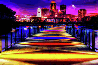Digital Art - Des Moines Gray's Lake Bridge Cityscape by Mary Clanahan