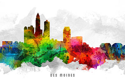 Down Town Painting - Des Moines Iowa Cityscape 12 by Aged Pixel