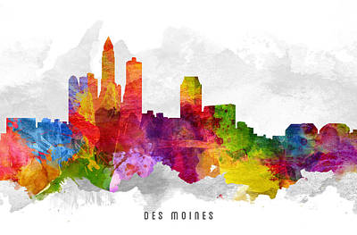 Down Town Painting - Des Moines Iowa Cityscape 13 by Aged Pixel