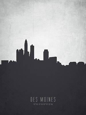 Des Moines Painting - Des Moines Iowa Cityscape 19 by Aged Pixel