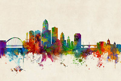Digital Art - Des Moines Iowa Skyline by Michael Tompsett