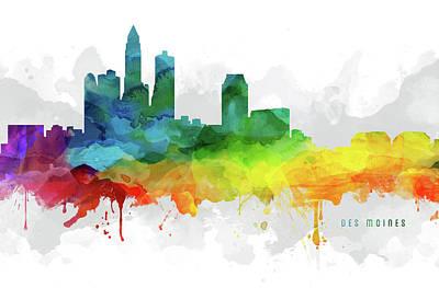 Des Moines Skyline Mmr-usiadm05 Art Print