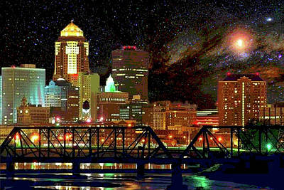 Digital Art - Des Moines Vivid Nightscape by Mary Clanahan