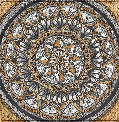 Drawing - Des Tapestry In Gold-grey-black by Kathy Sheeran