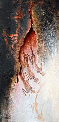 Pictograph Painting - Descending To The Spirit World by Ingrid  Albrecht
