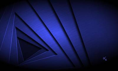 Digital Art - Abstract Triangular Vortex In Blue by John Wills